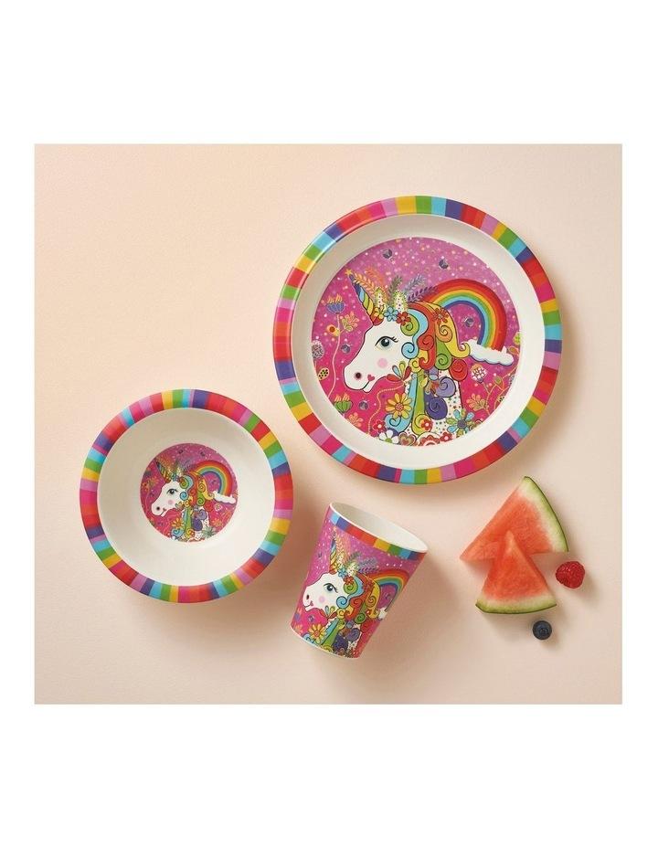 Donna Sharam Rainbow Jungle Children's Bamboo Rainbow Unicorn 3pc Dinner Set Gift Boxed image 2