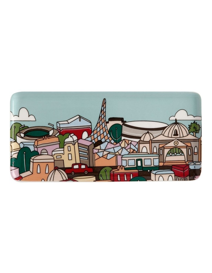 Megan McKean Cities Rectangle Plate 25x12cm Melbourne Gift Boxed image 1