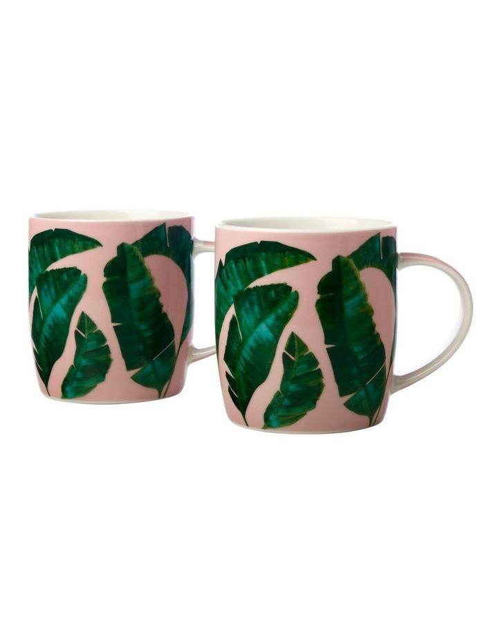 Haven Banana Leaf Mug 380ML Set of 2 Pink Gift Boxed image 1