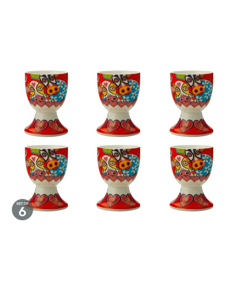 Love Hearts Egg Cup Happy Moo Day Set of 6 image 1