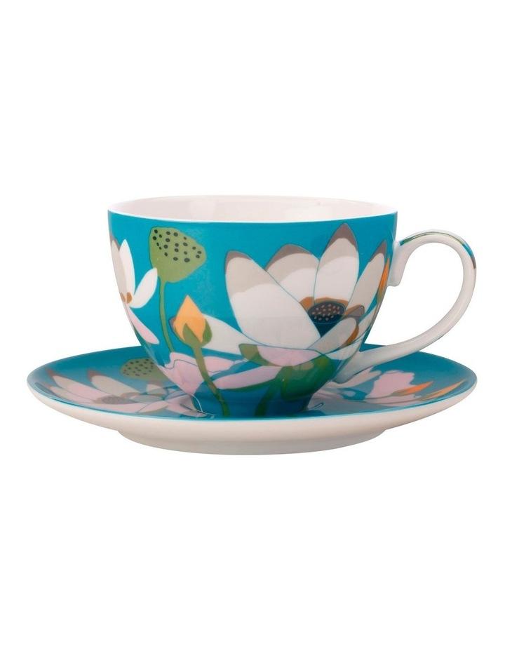 Royal Botanic Gardens Lotus Cup & Saucer 240ML Aqua Gift Boxed image 1