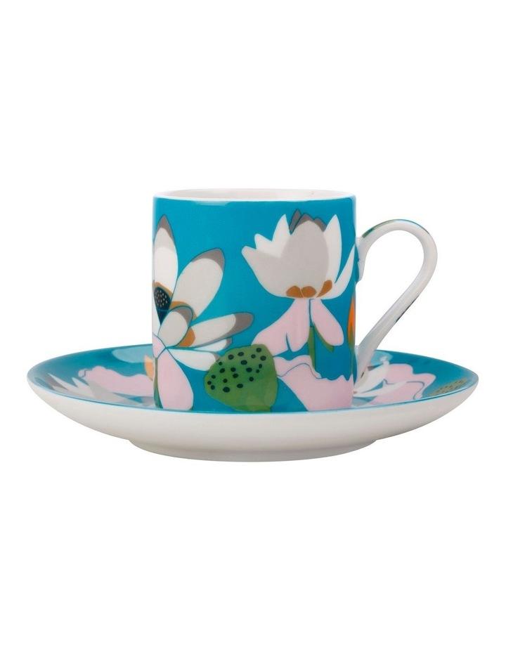 Royal Botanic Gardens Lotus Demi Cup & Saucer 100ML Aqua Gift Boxed image 1