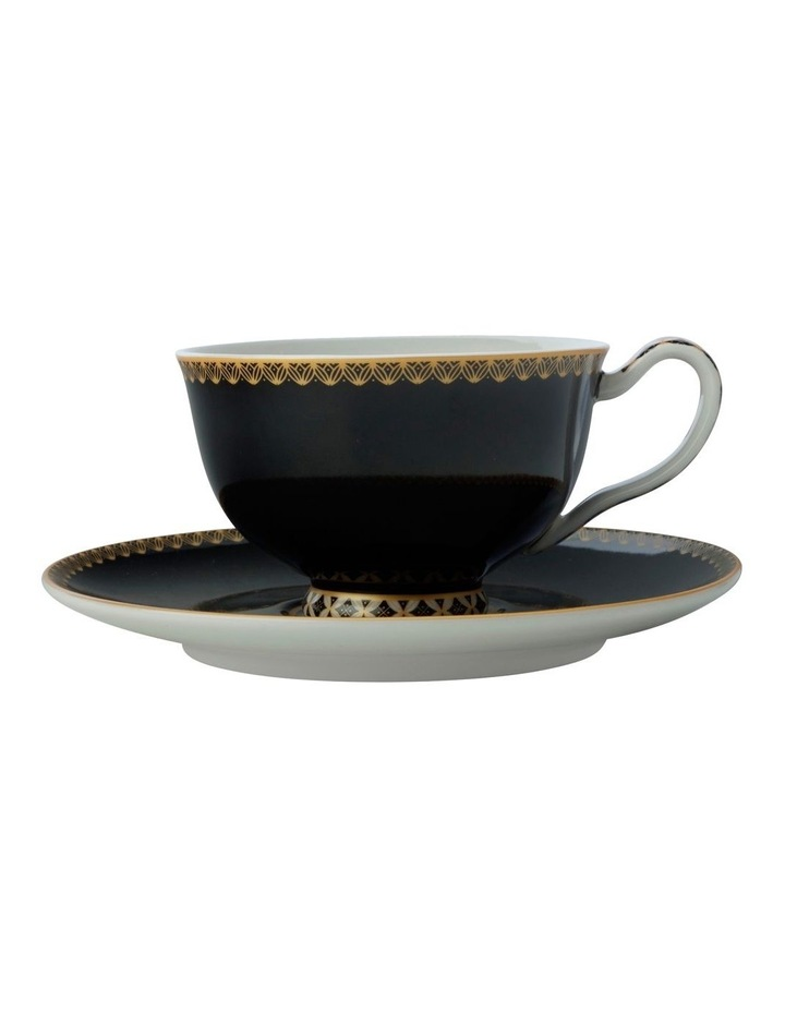 Teas & C's Classic Footed Cup & Saucer 200ML Black Gift Boxed image 1