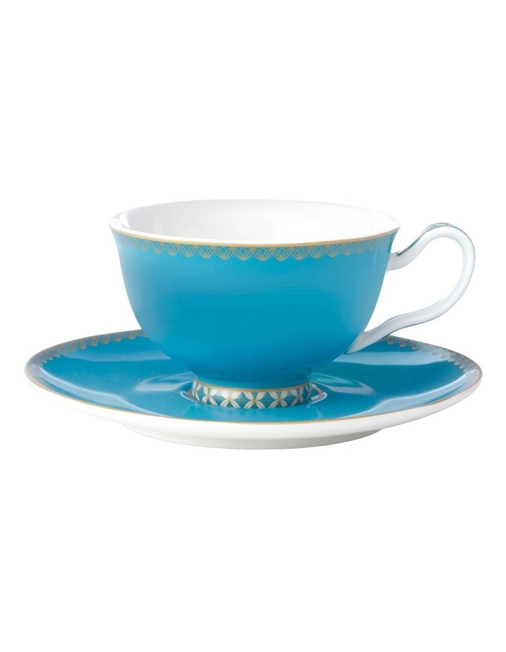 Teas & C's Classic 200ml Gift Boxed Footed Cup & Saucer Set in Aqua image 1