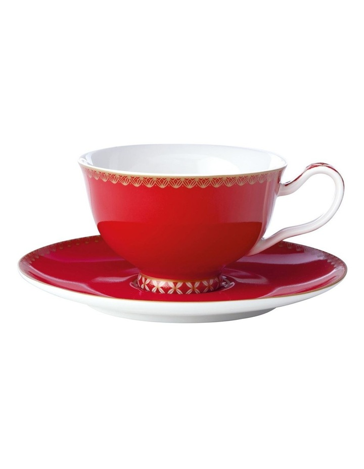 Teas & C's Classic Footed Cup & Saucer 200ML Cherry Red Gift Boxed image 1