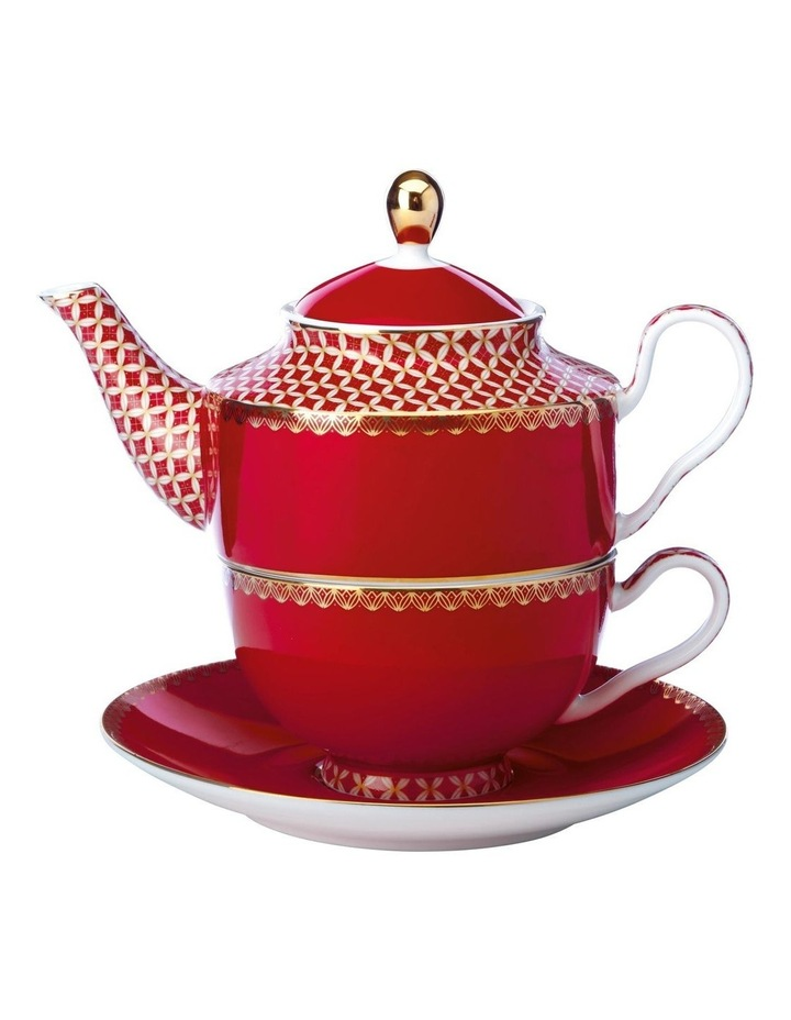 Teas & C's Classic Tea for One with Infuser 380ML Cherry Red Gift Boxed image 1