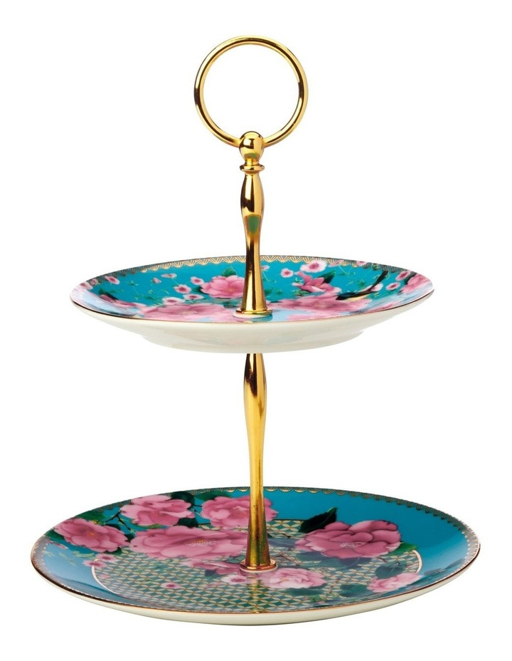 Teas & C's Silk Road 2 Tiered Cake Stand Aqua Gift Boxed image 1