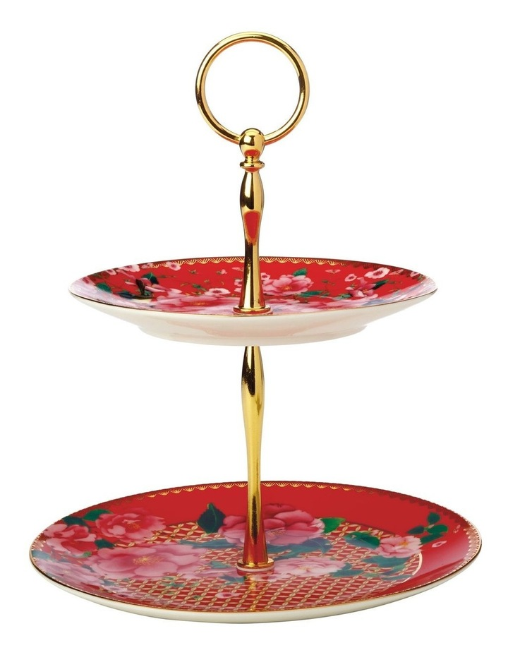 Teas & C's Silk Road 2 Tiered Cake Stand Cherry Red Gift Boxed image 1