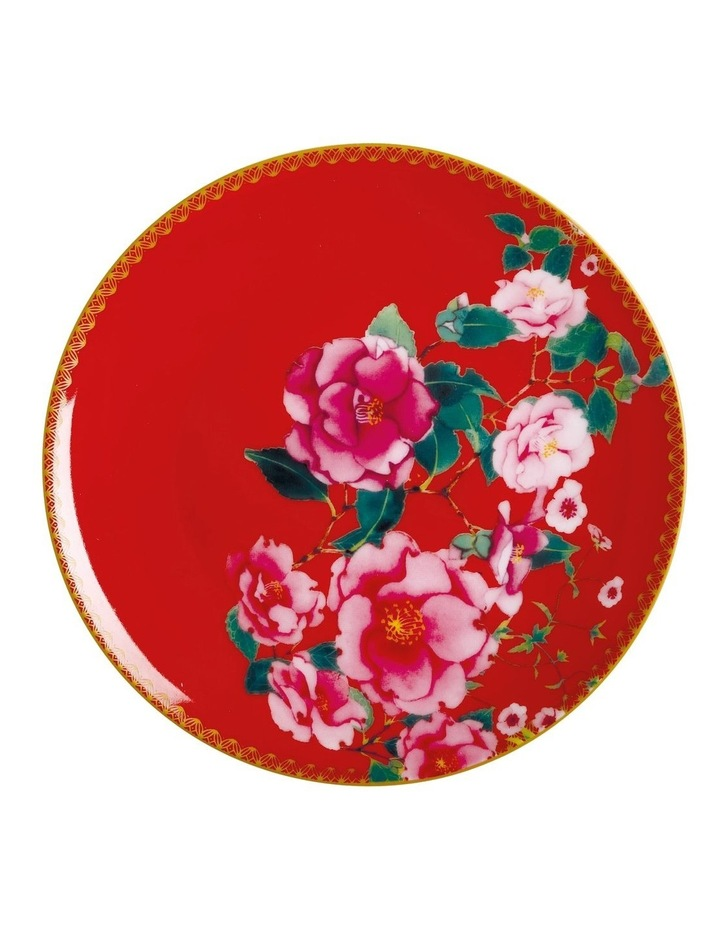 Teas & C's Silk Road Coupe Plate 19.5cm Cherry Red Gift Boxed image 1
