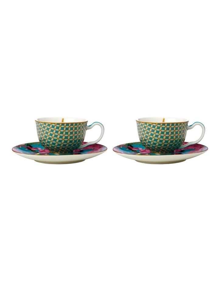 Teas & C's Silk Road Demi Cup & Saucer 85ML Set of 2 Aqua Gift Boxed image 1