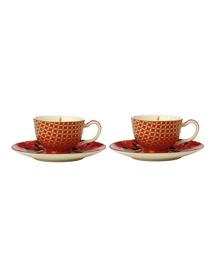 Teas & C's Silk Road Demi Cup & Saucer 85ML Set of 2 Cherry Red Gift Boxed image 1