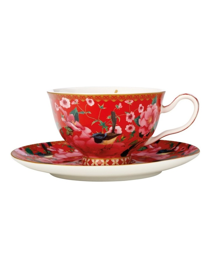 Teas & C's Silk Road Footed Cup & Saucer 200ML Cherry Red Gift Boxed image 1