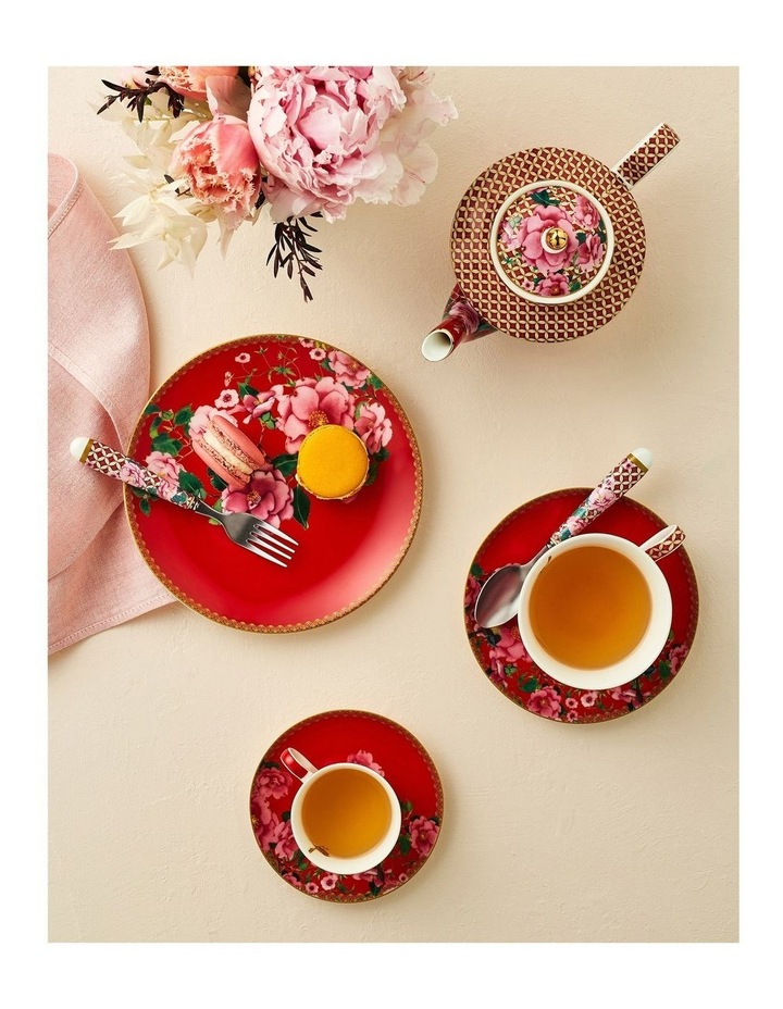 Teas & C's Silk Road Footed Cup & Saucer 200ML Cherry Red Gift Boxed image 2
