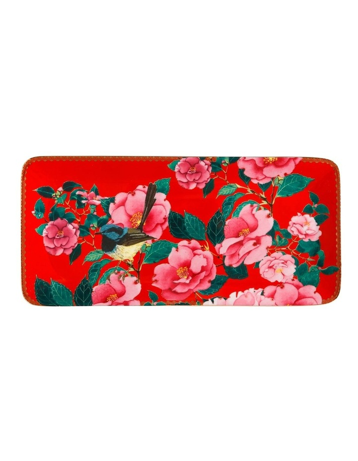 Teas & C's Silk Road Rectangle Platter 33x15.5cm Cherry Red Gift Boxed image 1