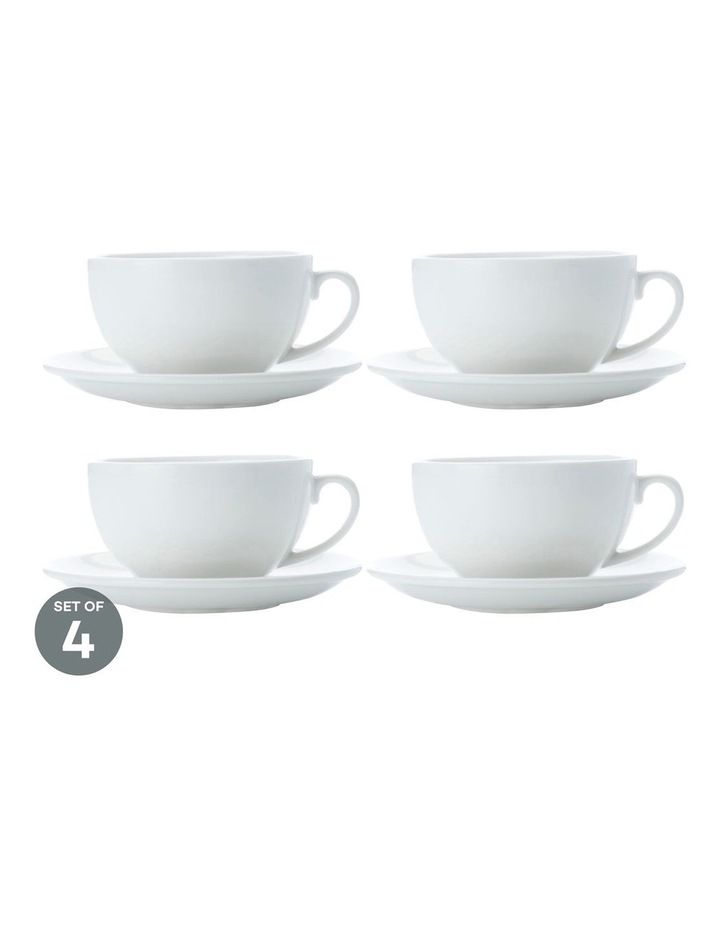 White Basics Cappuccino Cup & Saucer 320ML Set of 4 image 1