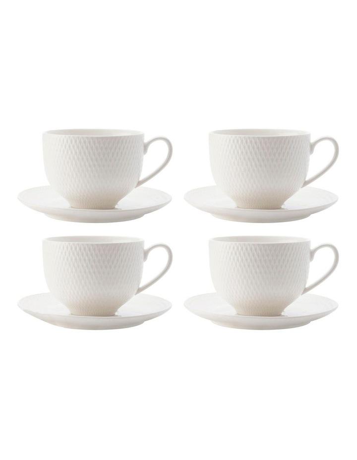 White Basics Diamonds Tea Cup & Saucer 220ML Set of 4 image 1
