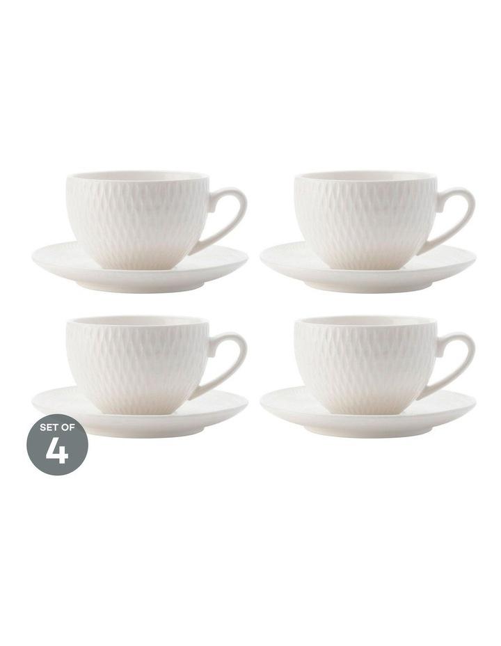 White Basics Diamonds Demi Cup & Saucer 90ML Set of 4 image 1