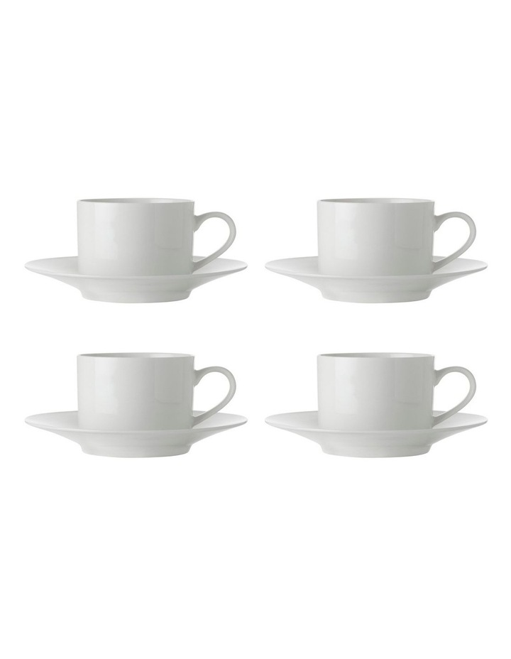 White Basics Straight Cup & Saucer 250ML Set of 4 image 1