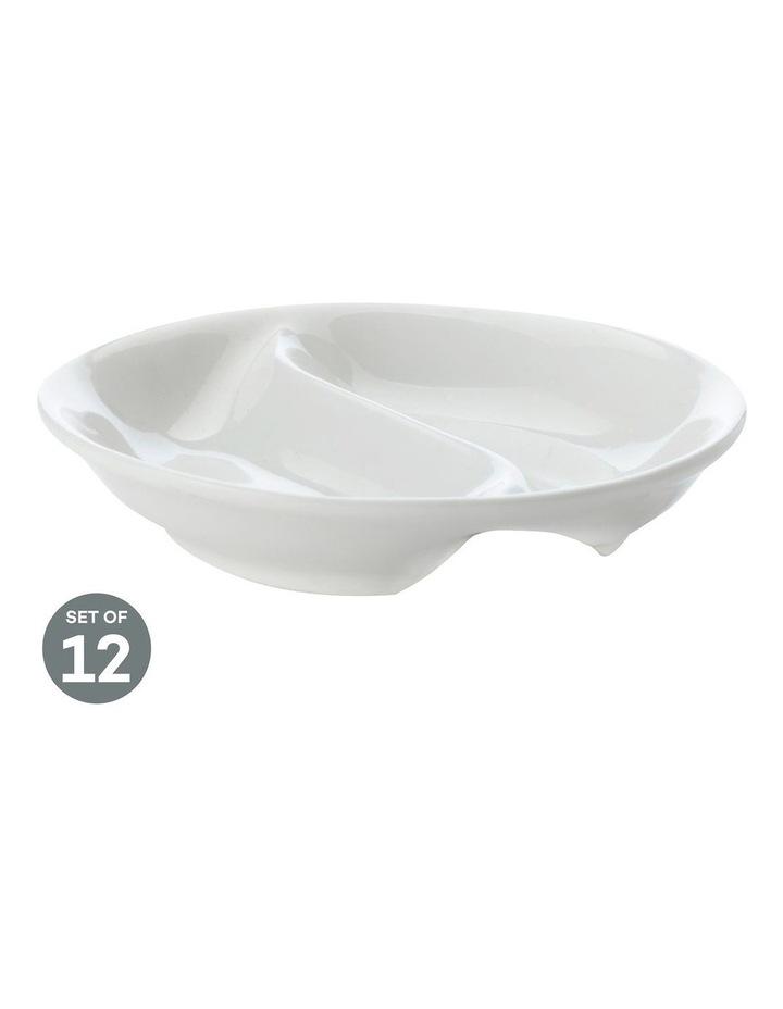 White Basics Round Divided Sauce 10cm Set of 12 image 1