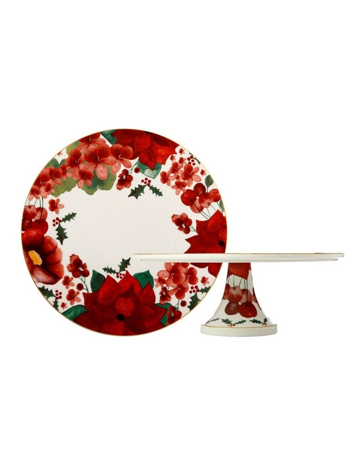 Poinsettia Footed Cake Stand 29cm Gift Boxed image 1