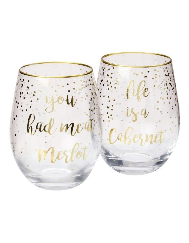 Celebrations Stemless Glass 500ML Set of 2 Cabernet Merlot Gift Boxed image 1
