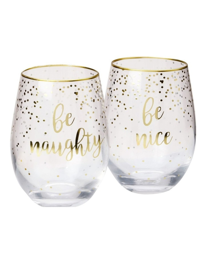 Celebrations Stemless Glass 500ML Set of 2 Naughty Nice Gift Boxed image 1