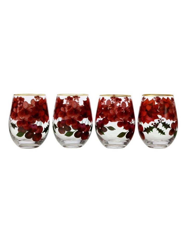 Poinsettia Stemless Wine 500ML Glass Set of 4 Gift Boxed image 1