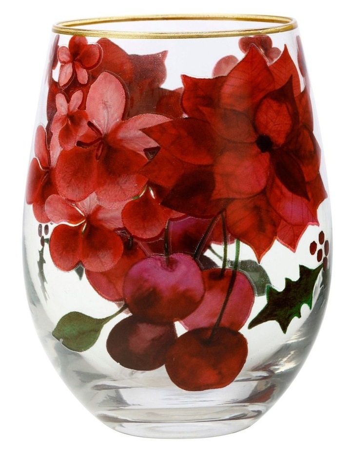 Poinsettia Stemless Wine 500ML Glass Set of 4 Gift Boxed image 2