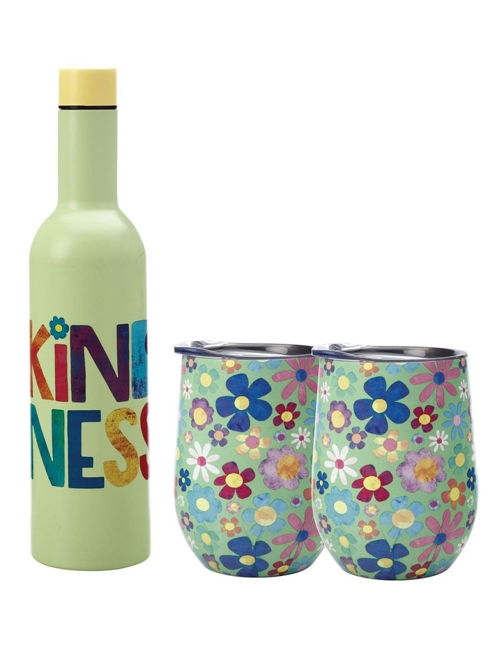 Kasey Rainbow Be Kind Double Wall Insulated Wine Set 3pc Kindness Boxed image 1