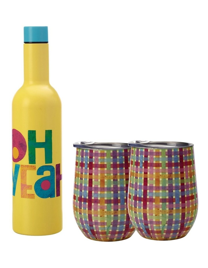 Kasey Rainbow Be Kind Double Wall Insulated Wine Set 3pc Oh Yeah Boxed image 1