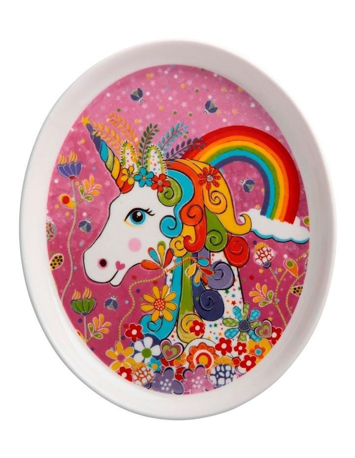 Donna Sharam Rainbow Jungle Plate 16cm Rainbow Unicorn Gift Boxed image 1
