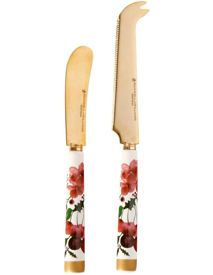 Poinsettia Spreader & Cheese Knife Set Gift Boxed image 1