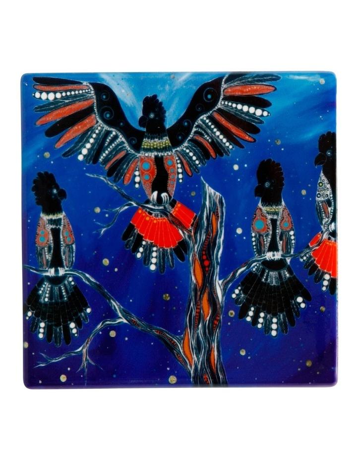 Melanie Hava Jugaig-Bana-Wabu Ceramic Square Coaster 10cm Black Cockatoos image 1