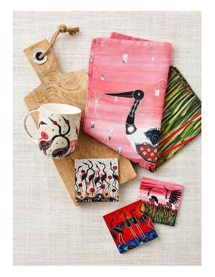 Melanie Hava Jugaig-Bana-Wabu Ceramic Square Coaster 10cm Brolgas image 2