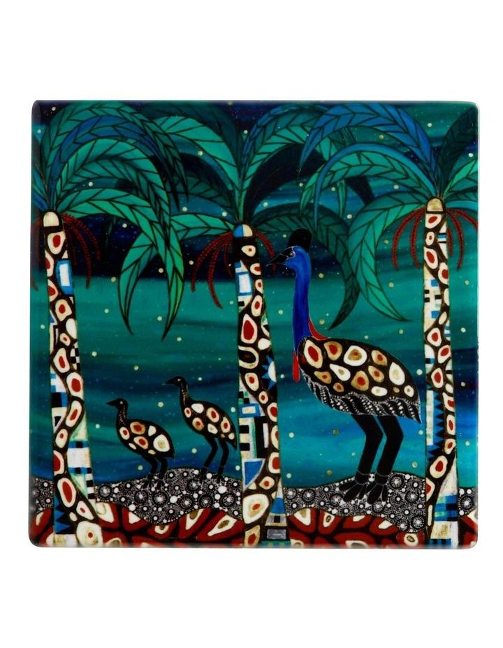Melanie Hava Jugaig-Bana-Wabu Ceramic Square Coaster 10cm Cassowaries Home image 1