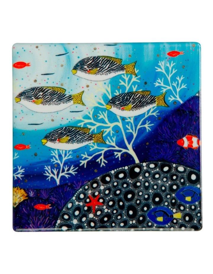 Melanie Hava Jugaig-Bana-Wabu Ceramic Square Coaster 10cm Goldman Sweetlips image 1