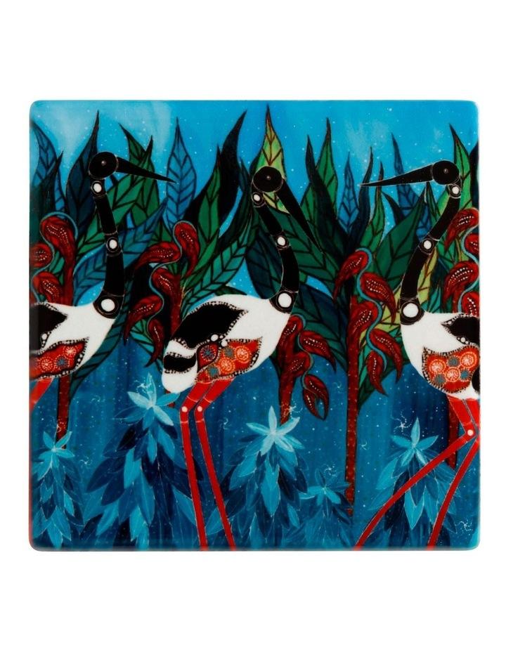 Melanie Hava Jugaig-Bana-Wabu Ceramic Square Coaster 10cm Jabirus Blue image 1