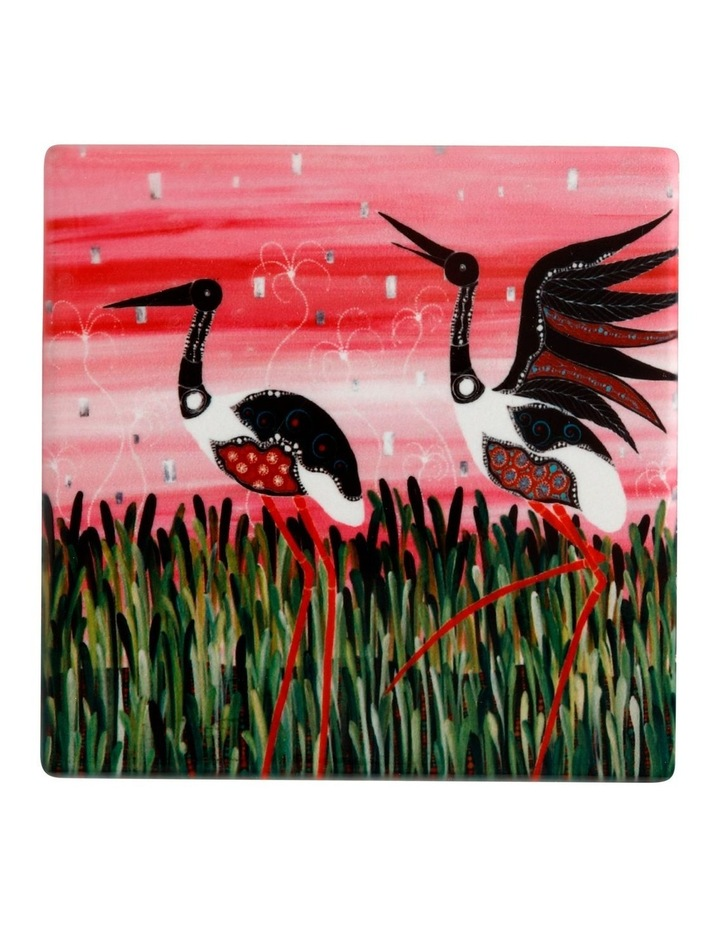 Melanie Hava Jugaig-Bana-Wabu Ceramic Square Coaster 10cm Jabirus Pink image 1