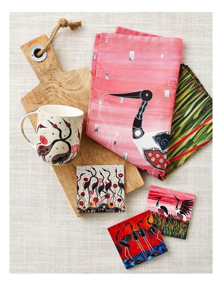 Melanie Hava Jugaig-Bana-Wabu Ceramic Square Coaster 10cm Jabirus Pink image 2