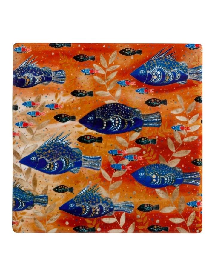 Melanie Hava Jugaig-Bana-Wabu Ceramic Square Coaster 10cm River Life image 1