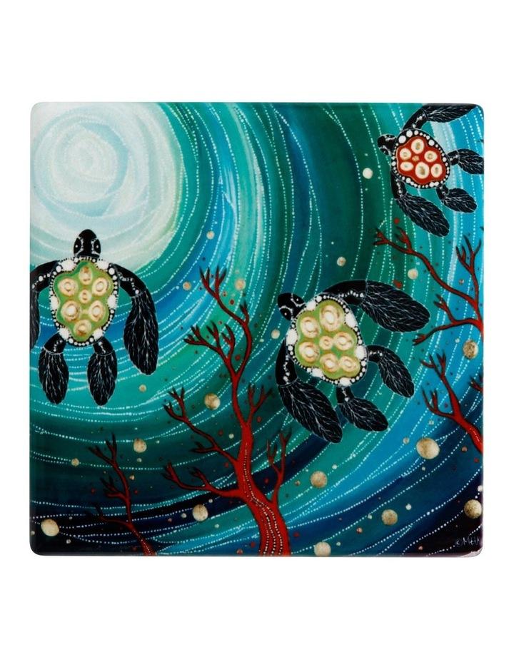 Melanie Hava Jugaig-Bana-Wabu Ceramic Square Coaster 10cm Turtles image 1