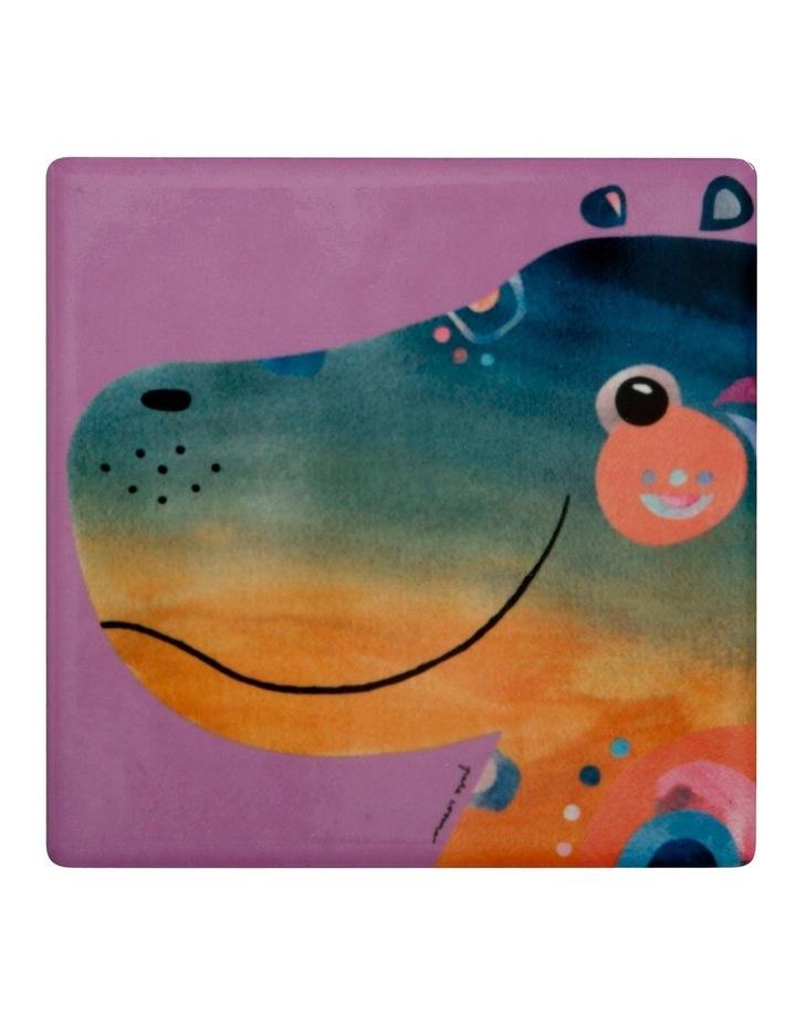 Pete Cromer Wildlife Ceramic Square Coaster 9.5cm Hippo image 1