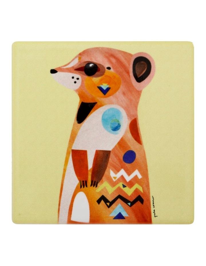 Pete Cromer Wildlife Ceramic Square Coaster 9.5cm Meerkat image 1