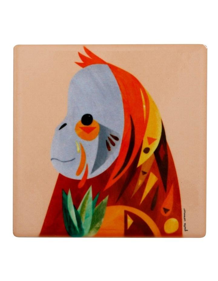 Pete Cromer Wildlife Ceramic Square Coaster 9.5cm Orangutan image 1