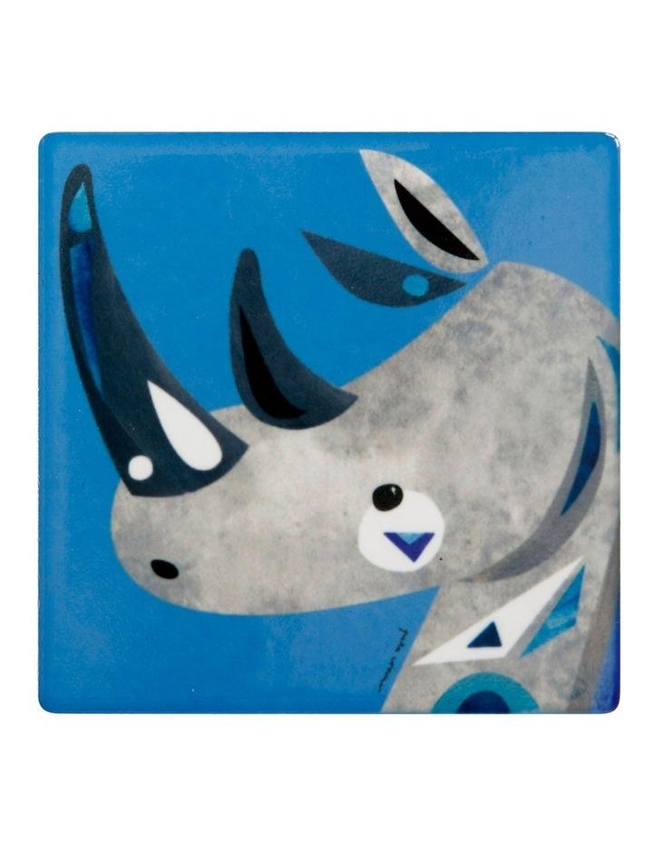 Pete Cromer Wildlife Ceramic Square Coaster 9.5cm Rhino image 1