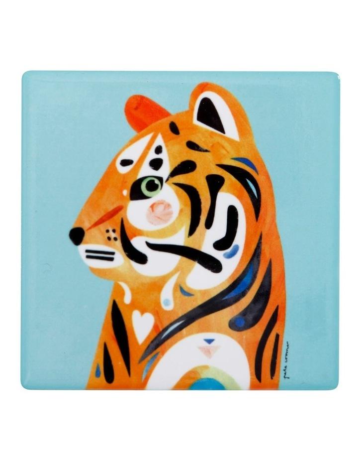 Pete Cromer Wildlife Ceramic Square Coaster 9.5cm Tiger image 1
