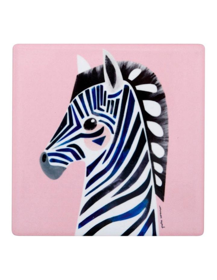 Pete Cromer Wildlife Ceramic Square Coaster 9.5cm Zebra image 1