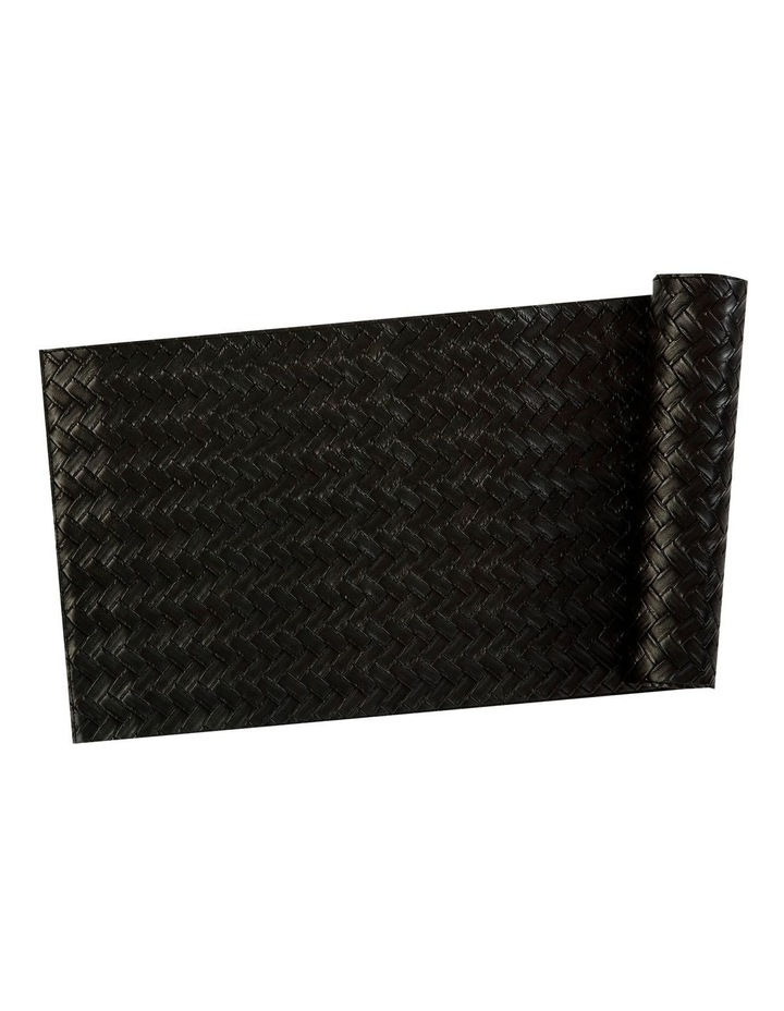 Table Accents Leather Look Runner 30x150cm Black Plait image 1