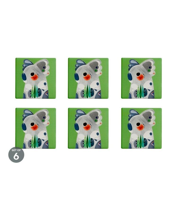 Pete Cromer Ceramic Square Coaster 9.5cm Koala Set of 6 image 1