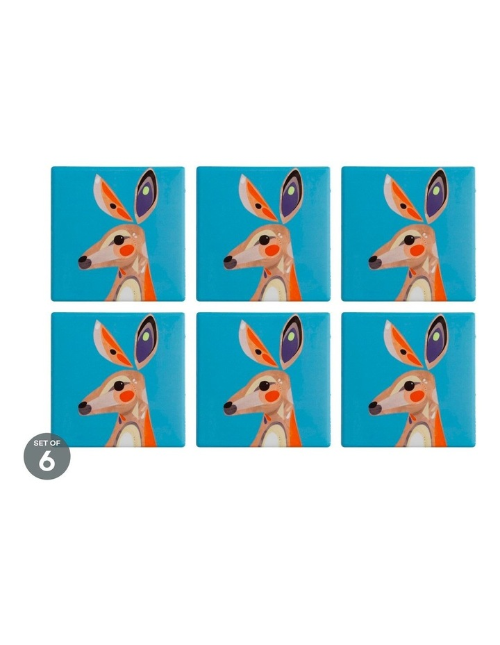 Pete Cromer Ceramic Square Coaster 9.5cm Kangaroo Set of 6 image 1
